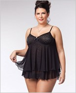 Plus Size Starburst Babydoll And G-String