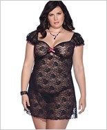 Plus Size Stretch Floral Lace Chemise