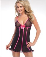 Bow Mesh Cups Chemise
