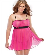 Plus Size Mesh Babydoll And G-String