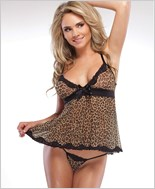 Leopard Babydoll And G-String