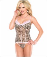 Leopard Mesh Bustier And G-String Set CQ-1998