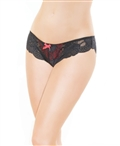 Stretch Lace and Satin Knit High-Cut Panty CQ-222
