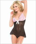 Mesh Teddy With Contrasting Lace Cups CQ-2405