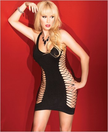 Dress with Solid Front Panel and Fishnet Back CQ-2423
