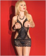 Scalloped Stretch Lace Cupless Chemise CQ-2427
