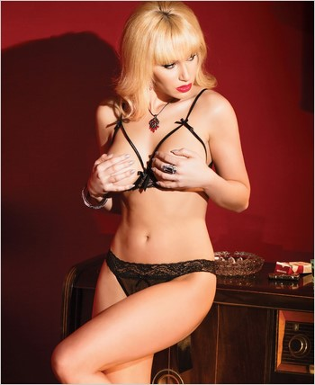 Cupless Bra with Strap Detail and Panty CQ-2429