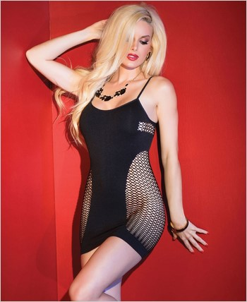 Fishnet Tank Dress with Opaque Front CQ-2435