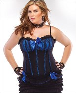 Plus Size Black And Blue Fully Boned Corset