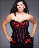 Plus Size Black And Red Fully Boned Corset