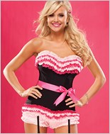 Black And Pink Ruffled Corset