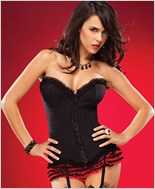 Ruffle Trim Lace Up Corset