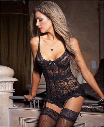 Black Stretch And Lace Bustier