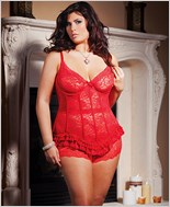 Plus Size Red Stretch And Lace Bustier