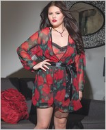 Plus Size Rose Print Chiffon Robe CQ-3585X