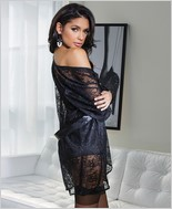 Stretch lace robe with full length sleeves CQ-3708