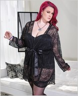 Stretch lace robe with full length sleeves CQ-3708X