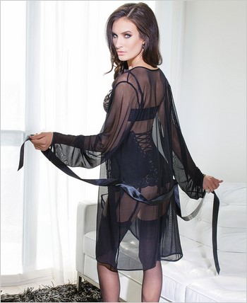 Mesh robe with full length sleeves CQ-3709