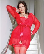 Mesh robe with full length sleeves CQ-3709X