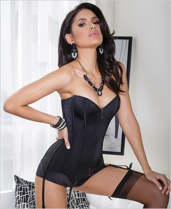 Fully boned stretch knit corset CQ-3728