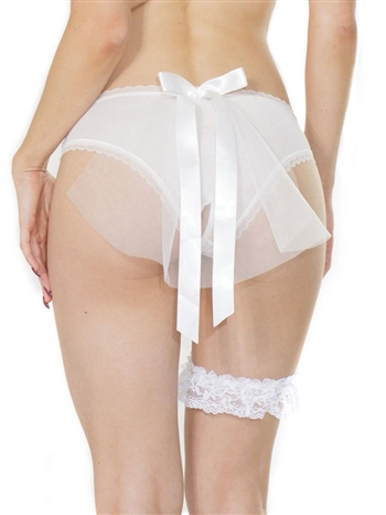 Bridal Mesh Crotchless Panty with Tulle Veil CQ-373