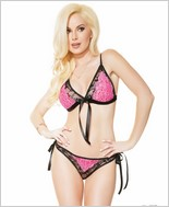 Reversible Bikini Top and Crotchless Panty  CQ-3743