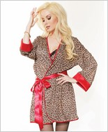 Leopard Print Robe with Ribbon Belt  CQ-3752