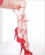 Folded Elastic Leg Ties with Pom Poms CQ-3762