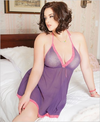 Plus Size Triangle Cup Babydoll Set CQ-3769X