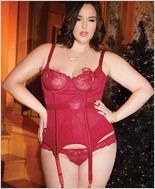 Plus Size Bustier with Peek-A-Boo Tie Up Cups CQ-3788X