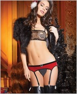 Stretch Velvet Garter Belt with Velvet Elastic Belt CQ-3795