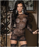 Long Sleeve Stretch Lace Mini Dress CQ-7015