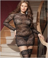 Plus Size Long Sleeve Stretch Lace Mini Dress  CQ-7015X