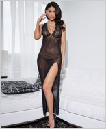 Mesh gown with slit CQ-7022