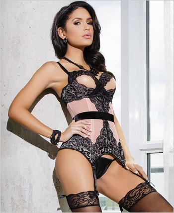 Bustier with peek-a-boo demi cup CQ-7023