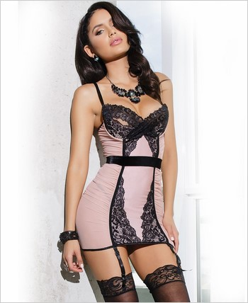 Chemise with peek-a-boo demi cups CQ-7024