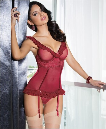 Powernet and lace bustier CQ-7037