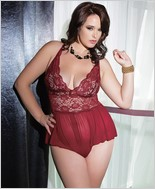 Crotchless lace and mesh teddy CQ-7041X