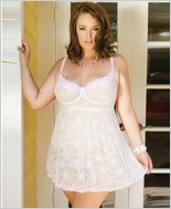 Plus Size Lace Soft Cup Babydoll with Scalloped Lace CQ-7058X