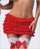 Red Mesh Ruffle Skirt