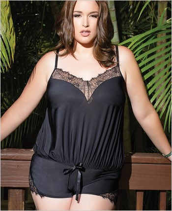 Plus Size Microfiber and Scalloped Eyelash Romper CQ-7066X