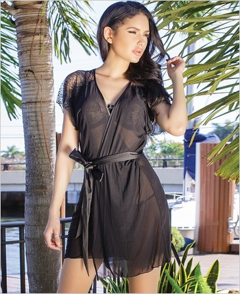 Mesh and Scalloped Lace Short Sleeve Robe CQ-7067