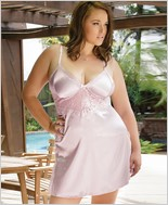 Plus Size Satin and Powernet Triangle Cup Chemise CQ-7076X
