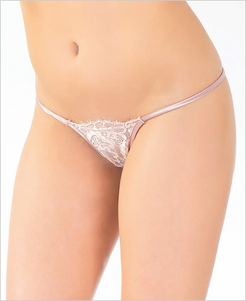 Eyelash Lace and Satin Adjustable G-String CQ-7080