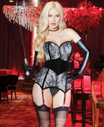 Lace Over Satin Fully Boned Corset CQ-7130