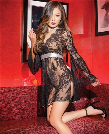Rigid All Over Lace Chemise with Bell Sleeves CQ-7131
