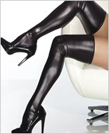 Plus Size Wet Look Thigh High Stockings