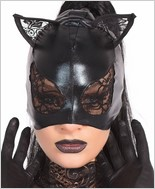Wet Look Cat Mask with Lace Eyes and Ears CQ-D2245