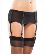 Plus Size Mesh And Vinyl Garter Belt