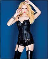 Matte Wet Look Over Powernet Bustier CQ-D9270